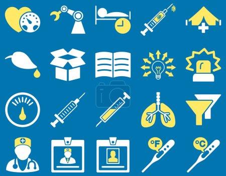 Illustration pour Ensemble d'icône médicale. Style est bicolore icônes dessinées avec des couleurs jaunes et blanches sur un fond bleu - image libre de droit