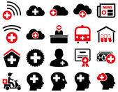 Medical icon set Style is bicolor icons drawn with intensive red and black colors on a white background