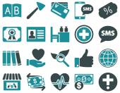 Medical icon set Style is bicolor icons drawn with soft blue colors on a white background