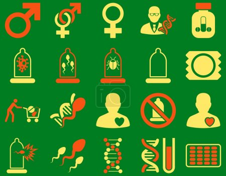 Photo for Medical icon set. Style is bicolor icons drawn with orange and yellow colors on a green background - Royalty Free Image