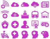 Medical icon set Style is icons drawn with violet color on a white background