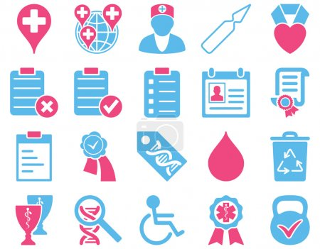 Photo for Medical icon set. Style is bicolor icons drawn with pink and blue colors on a white background - Royalty Free Image