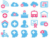 Medical icon set Style is bicolor icons drawn with pink and blue colors on a white background