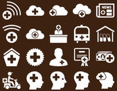 Medical icon set Style is icons drawn with white color on a brown background