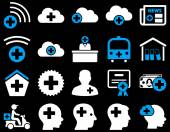 Medical icon set Style is bicolor icons drawn with blue and white colors on a black background
