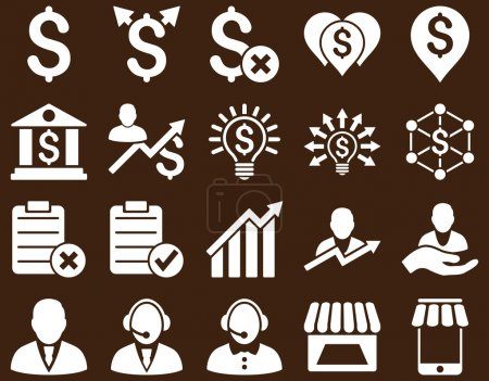 Photo for Trade business and bank service icon set. These flat icons use white color. Images are isolated on a brown background. Angles are rounded - Royalty Free Image