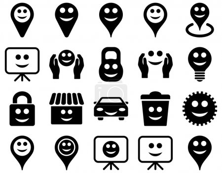 Illustration for Tools, options, smiles, objects icons. Vector set style is flat images, black symbols, isolated on a white background - Royalty Free Image