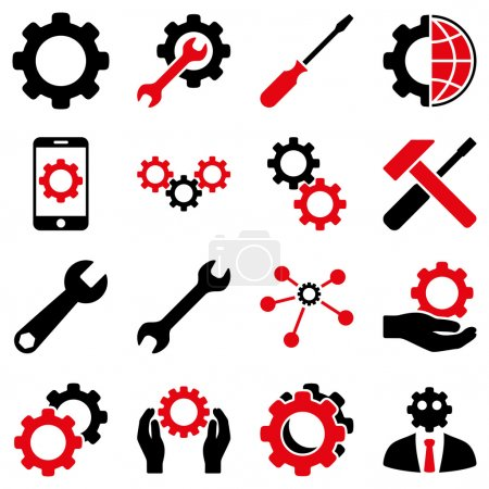 Illustration for Options and service tools icon set. Vector style is flat bicolor symbols, intensive red and black colors, rounded angles, white background - Royalty Free Image