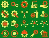 Settings and Tools Icons Vector set style is bicolor flat images orange and yellow colors isolated on a green background