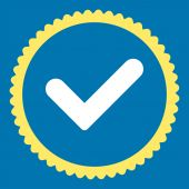 Yes flat yellow and white colors round stamp icon