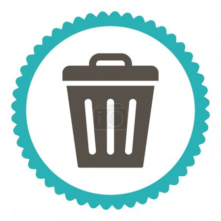 Trash Can flat grey and cyan colors round stamp icon