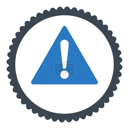 Warning flat smooth blue colors round stamp icon