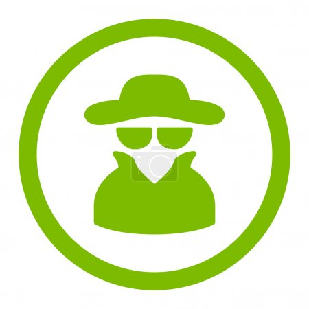 Spy flat eco green color rounded vector icon
