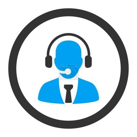 Illustration pour Icône vectorielle du centre d'appel. Ce symbole plat arrondi est dessiné avec des couleurs bleues et grises sur un fond blanc - image libre de droit