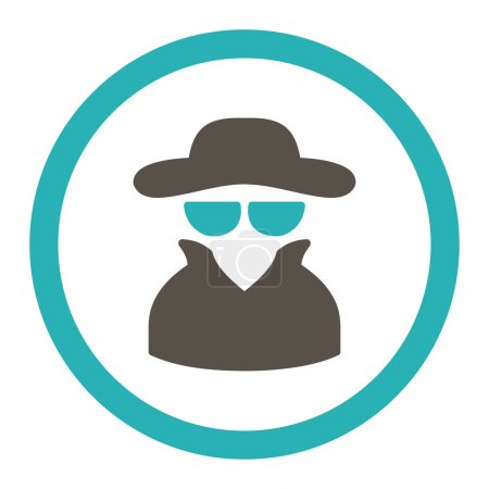 Spy flat grey and cyan colors rounded vector icon