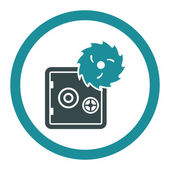 Hacking theft flat soft blue colors rounded vector icon