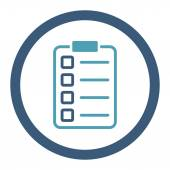 Examination flat cyan and blue colors rounded vector icon