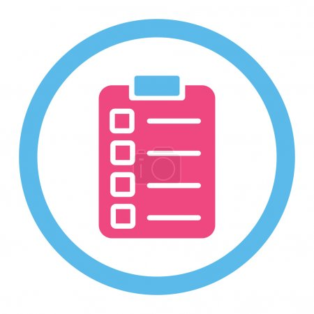 Test task flat pink and blue colors rounded vector icon