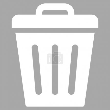 Trash Can flat white color icon