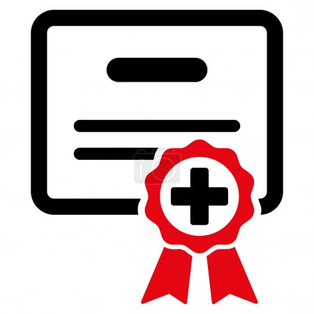 Illustration for Medical Certificate vector icon. Style is bicolor flat symbol, intensive red and black colors, rounded angles, white background - Royalty Free Image
