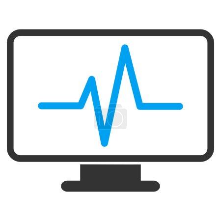 Illustration pour Surveillance de l'icône vectorielle. Style bicolore symbole plat, couleurs bleu et gris, angles arrondis, fond blanc. - image libre de droit