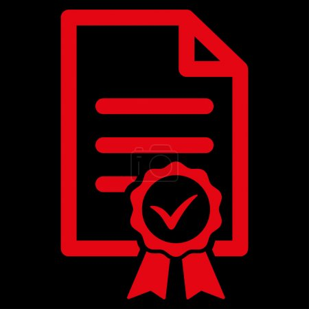 Illustration for Certified vector icon. Style is flat symbol, red color, rounded angles, black background - Royalty Free Image