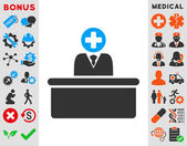 Medical Bureaucrat vector icon Style is bicolor flat symbol blue and gray colors rounded angles white background