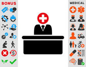 Medical Bureaucrat vector icon Style is bicolor flat symbol intensive red and black colors rounded angles white background