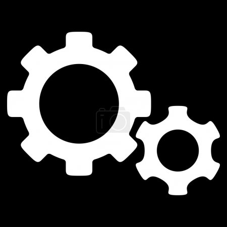 Illustration for Gears vector icon. Style is flat symbol, white color, rounded angles, black background - Royalty Free Image