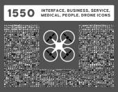 Web interface business tools hardware devices people poses medical service and awards vector icons Style is bicolor flat symbols black and white colors rounded angles gray background