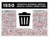 Ikona koše a více rozhraní, podnikání, nástroje, lidé, lékařské, ocenění bytu vektorové ikony