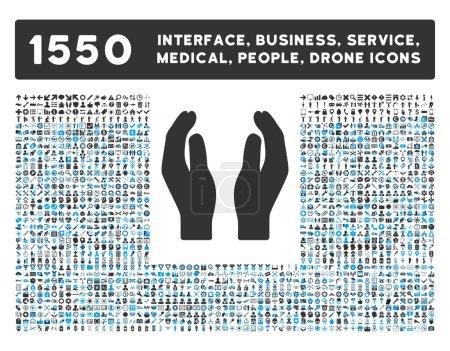 Illustration pour Icône de soins et autre interface web, affaires, outils, personnes, service médical et récompenses symboles vectoriels. Le modèle est des symboles plats bicolor, des couleurs bleues et grises, des angles arrondis, le fond blanc - image libre de droit