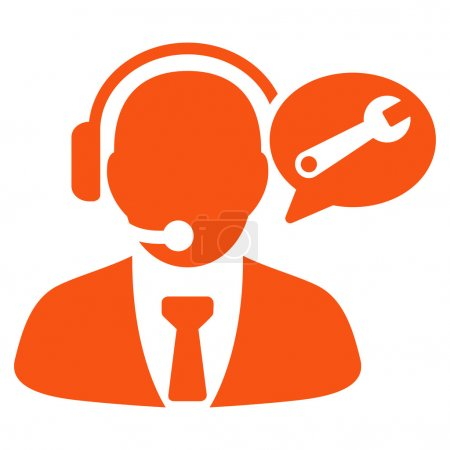 Illustration pour Gestionnaire de services Icône vectorielle de message. Style symbole plat, couleur orange, angles arrondis, fond blanc - image libre de droit