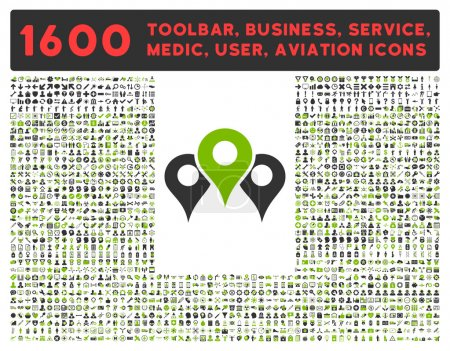 Photo for Locations vector icon and 1600 other business, service tools, medical care, software toolbar, web interface pictograms. Style is bicolor flat symbols, eco green and gray colors, rounded angles, white - Royalty Free Image