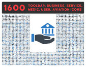Bank Service vector icon and 1600 other business service tools medical care software toolbar web interface pictograms Style is bicolor flat symbols smooth blue colors rounded angles white