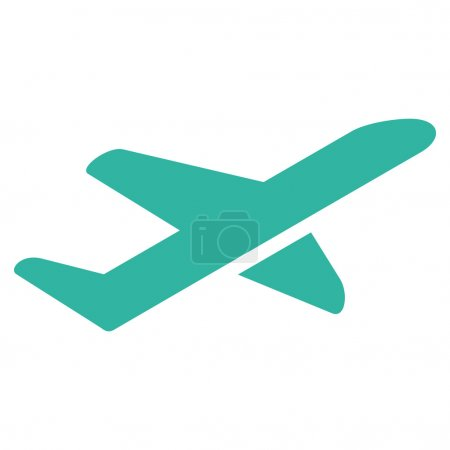 Photo for Takeoff vector icon. Style is flat cyan symbol, rounded angles, white background - Royalty Free Image