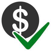 Hagyja jóvá a fizetések lapos ikon