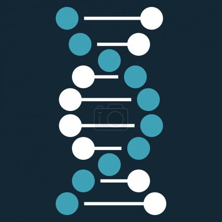 Photo for Dna vector icon. Style is bicolor flat symbol, blue and white colors, rounded angles, dark blue background. - Royalty Free Image