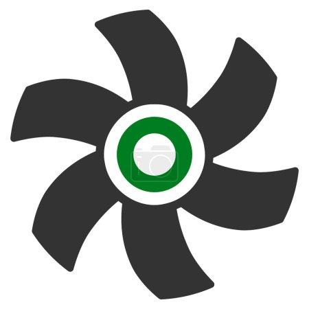 Illustration pour Icône vectorielle du rotor. Style bicolore symbole plat, couleurs vertes et grises, angles arrondis, fond blanc . - image libre de droit