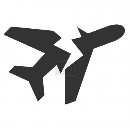 Illustration for Break Airplane vector icon. Style is flat symbol, rounded angles, white background - Royalty Free Image