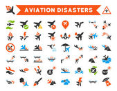 Aviation Disasters Vector Icon Set Here are airplane crashes terror drones military attacks plane tests