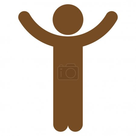 Hands Up Man Silhouette Icon