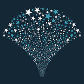 Star Fountain Salute vector illustration Style is blue and white bicolor flat stars dark blue background