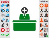 Medical Bureaucrat vector icon Style is bicolor flat symbol green and gray colors rounded angles white background