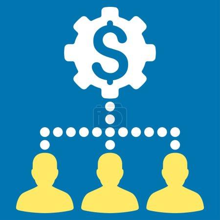 Illustration pour Banque industrielle Clients icône vectorielle. Style bicolore symbole plat, couleurs jaune et blanc, angles arrondis, fond bleu - image libre de droit