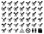 Stink boys vector icon set Style is flat symbols black color rounded angles white background