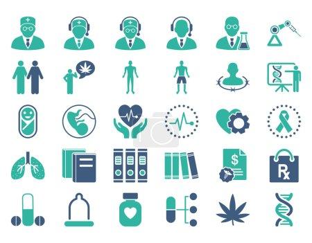 Illustration pour Ensemble d'icônes vectorielles médicales. Le style est bicolore symboles plats, couleurs cobalt et cyan, angles arrondis, fond blanc - image libre de droit