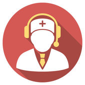 Medical Emergency Manager Flat Round Icon with Long Shadow