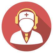Lékařská pohotovost správce ploché kolo ikona s dlouhý stín