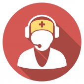 Hospital Receptionist Flat Round Icon with Long Shadow